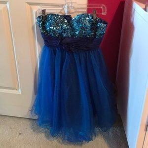 Blue Sequined Strapless Homecoming Dress